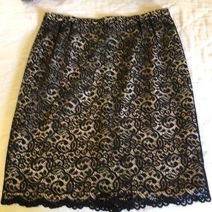 Vintage Handmade Black & Cream Lace Skirt